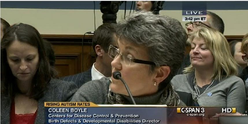 CDC'den Dr. Coleen Boyle, 2012 kasım ayında kongreye verdiği yeminli ifadede, eldeki kanıtların aşılardaki cıvayla otizm arasında hiçbir bağıntı olmadığını gösterdiğini ifade ediyor.